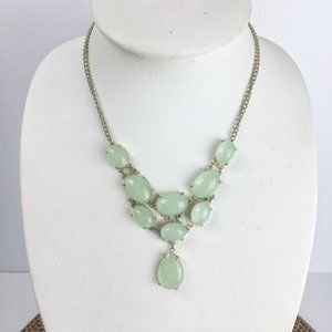 Green and silver statement necklace